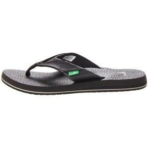 Sanuk Mens Beer Cozy Flip Flop Thong Sandals Black
